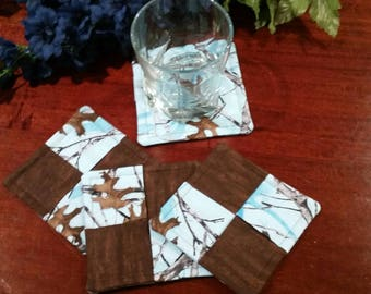 Fabric Coasters, Blue Camo Coasters, Stemware Coasters, Wine Glass Coasters, Criss Cross Coasters, Slipper Coasters, Stem Glass Coasters