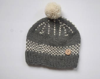 Adult Pom Hat- Grey/White