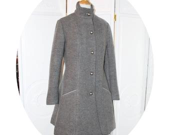 Manteau princesse en laine grise, manteau hiver gris cintre, manteau evase en laine grise,manteau trois quart en laine