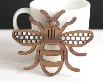 Manchester Bee coaster, walnut or oak wood, wall art, honeycomb design, Manchester gift, housewarming gift