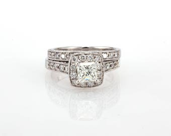 Diamond Engagement Ring Wedding Set in 14K White Gold Halo Setting With 2.00 CTW Natural Princess Cut Diamond And Accents