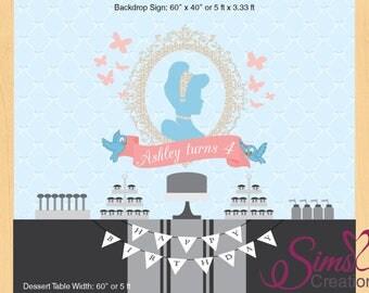 Personalized Cinderella Backdrop Banner, Cinderella party poster, princess cinderella silhouette backdrop,cinderella birthday party backdrop