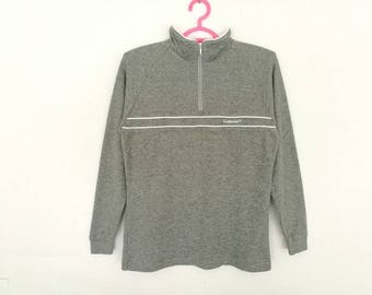 Rare!! Vintage Ellesse Spellout Embroidery Half Zipper Sweatshirt Women