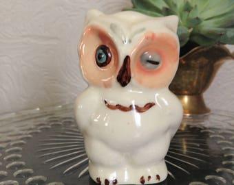 OWL DECOR, OWL Decorations, Owl Salt and Pepper Shaker, Winking Owl, Ceramic Owl, White Owl, Owl for Kitchen, Knick Knack Owl, Owl for shelf