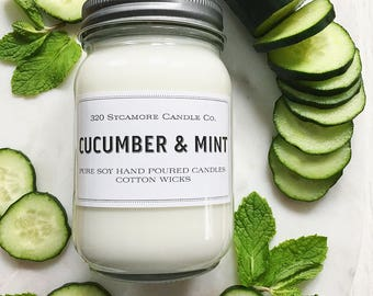 16 oz. Cucumber & Mint Hand Poured Pure Soy Candle with Cotton Wick