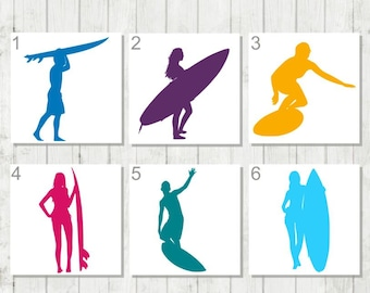 Surfing Decal, Surfing Monogram, Surfboard Decal, Gift for Surfer, Beach Lover Decal, Gift for Ocean Lover, Surfing Car Decal, Ocean Decal