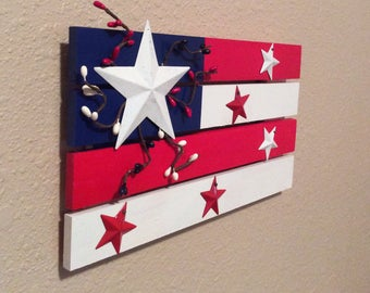 American flag Small wood painted American flag 4th of July decor Red white and blue Independence day