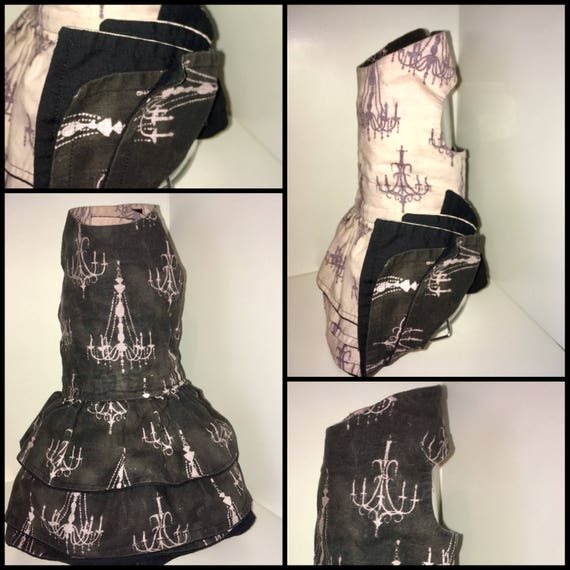 Shabby chic gothic lolita ruffle harness dress for teacup, small, and medium dogs: CUSTOM SIZED sturdy cotton fully lined