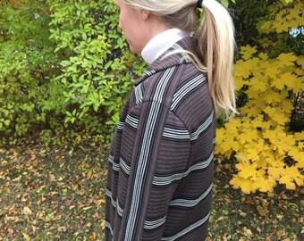 Mid Century Striped Virgin Wool Sweater //  Striped Zephyr Wool Cardigan // 70's Cardigan // 60's Cardigan // Sophisticated Boho Cardigan