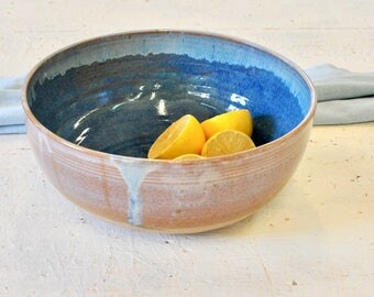 Ceramic bowl, bleu bowl, Salad bowl, Fruit bowl, Serving bowl, large bowl, centerpiece  bowl , Wheel thrown bowl, pottery bowl