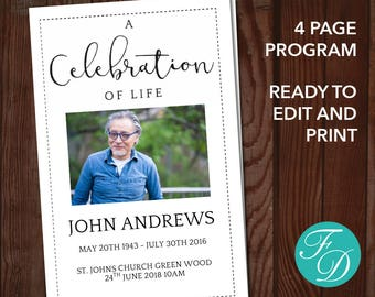 free celebration of life program template - funeral etsy