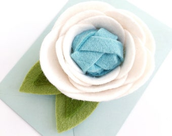 Felt Flower . Flat Felt Flower in Linen White and Swan Blue . Embellishment for a Magnet, Binder Clip, Brooch, Garland, or Sign