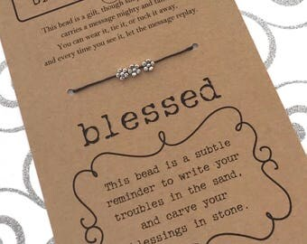 BLESSED Bracelet with Silver Beads - Inspirational Gift