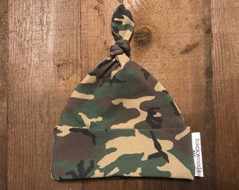 Baby Hat - Single Knot - Camo - Cotton Spandex Jersey Material