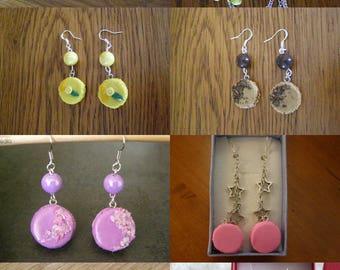to choose pair of dangle earrings, macaron