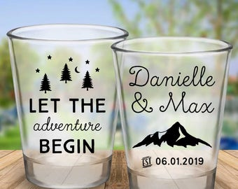 "Custom ""Let The Adventure Begin"" 2-Sided Wedding Favor Shot Glasses"