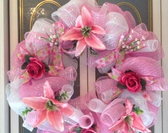 Beautiful Lily & Rose DECO MESH WREATH