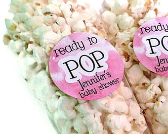 Ready to pop stickers, she's about to pop, baby shower stickers, baby shower favour, popcorn favour stickers, 132 - Pink
