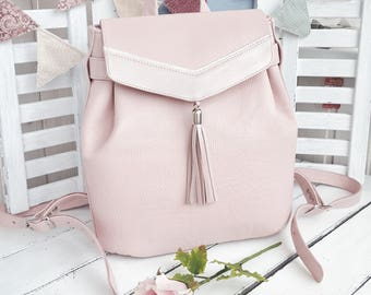 Leather backpack leather rucksack backpack women backpack womens backpack leather bag backpack women backpack purse rucksack pink