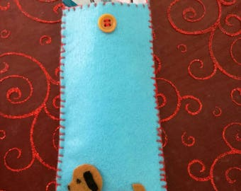 Blue felt glasses case