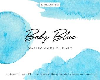 Baby Blue Watercolour Clip Art, Watercolour Clipart, Blue Clip Art, Watercolour Splash, Scrapbooking, Journaling, Commercial License