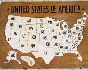 Usa Puzzle Etsy - Puzzle us map