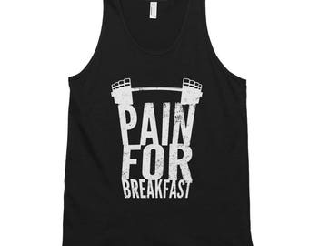 Pain for Breakfast Motivational Weight Lifting Unisex Tank Top