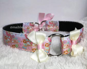 7/8'' collar with pink grosgrain ribbon and O-Ring bows
