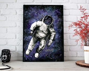 Spaaaaace! - Astronaut Watercolor Painting