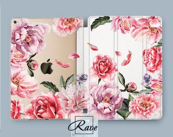 iPad case Floral iPad pro 10.5 case iPad air 2 cover iPad 3 stand pattern Peony Flower print iPad 4 mini sleeve Tablet case 10 inch iPad 9.7