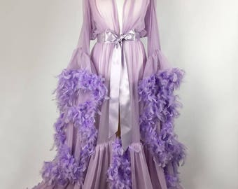 Chiffon Dressing Gown/Robe with Feather Trim