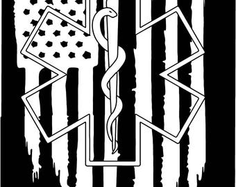 American flag EMS Star of Life EMT Paramedic medic vinyl sticker decal truck