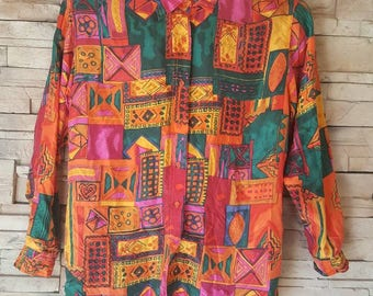 Abstract print silk shirt for men size small/women size large/hipster shirt/retro/mod/funky Button up long sleeve shirt Festival clothing