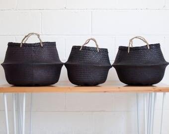 Noir Seagrass ventre - paniers de riz - ventre Basket - Panier de rangement - plante panier - naturel - noir basket - commerce équitable panier
