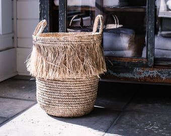 Fringe Basket - Raffia Basket - Storage Basket - Modern Farmhouse Basket - Unique Basket - Storage Basket - Plant Basket