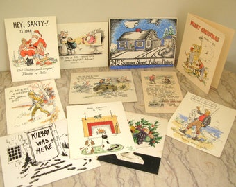 group of vintage hand-colored xmas cards
