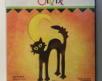 Sizzix - Cat & Moon Die - Retired - Used Once - 655557
