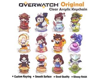 Original Overwatch Clear Double-sided Charm Keychain McCree , Hanzo , Mei ,  Lucio , Mercy , D.Va , Tracer, Widowmaker, Reaper etc