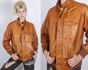80s Distressed Leather Jacket // Vintage Brown Coat Members Only Style Mens Womens - Large