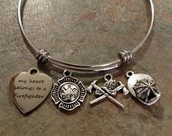 Heart belongs to firefighter bracelet