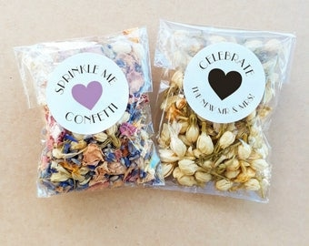 Wedding Confetti Biodegradable Cello Personalised Heart Custom Floral Petal Confetti Packs Toss Exit x 20