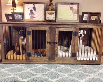 DOUBLE Large Rustic Handcrafted Dog Crate Kennel