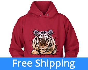 Tiger Hoodie | Tiger Birthday | Tiger Hooded Sweatshirt| Detroit Tigers Shirt | Tiger Hoodie | Big Cat Shirt | FREE Shipping to US