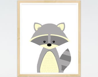 Raccoon Print, Nursery prints, Woodland Nursery, Wall Art, Nursery Decor, Animal Art, Forest Theme, Animal prints, baby Animals Prints,