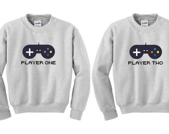 Player 1 Player 2 Sweater, BFF jumper, Bff Pullover, Couples Sweater, Bff Sweater, duo sweatshirts, bff shirt set, best friends sweater