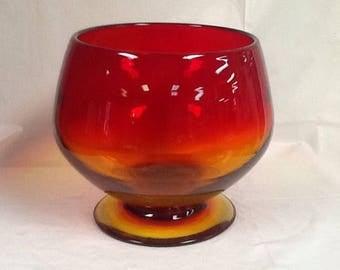 Blenko Glass 7217S compote in tangerine