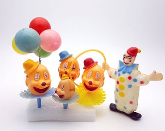 Vintage Cake Topper Clowns Having a Party Plastic Funny Laughing Clowns Birthday Craft Supplies Cupcake Pie Happy Balloons