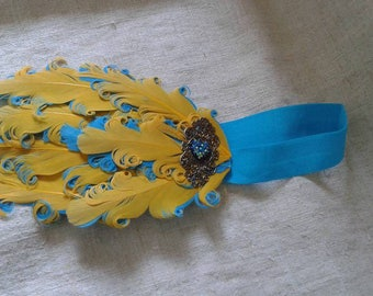 headband yellow and blue feathers adorned with a print