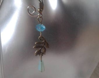 """Earrings """"small branch and blue beads"""""""