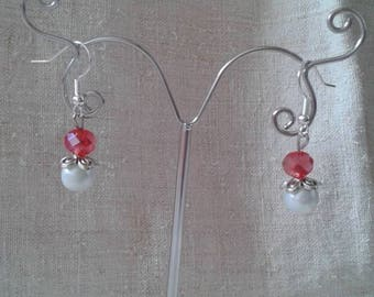 """red and white duo"" earrings"